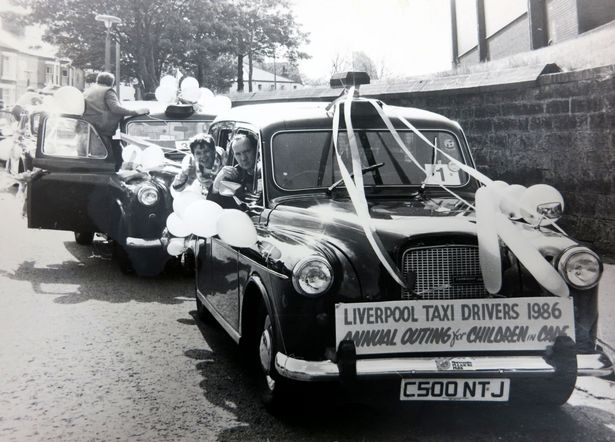 The 1986 children's outing to Morecambe, with Bernie Buxton behind the wheel