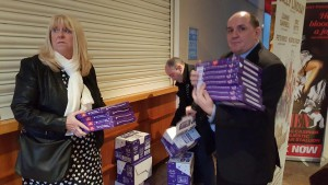 Paul giving out the selection boxes at Liverpool Empire (Dick Whittington Pantomime)